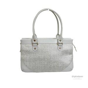 Kate Spade White & Silver Speckle Tweed Bag EUC